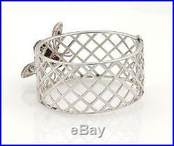 Elegant 2.40ct Black & White Diamonds 18k WGold 31mm Wide 3D Bee Band Bracelet