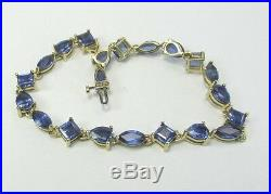 Estate 10K YG 7.5 17.3 CTW Sapphire Bracelet 12.1 Grams 8 MM Wide