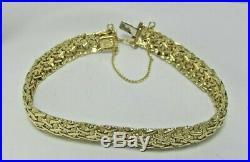 Estate 14K YG 7 Italian Designer Heavy Bracelet 16.0 Grams 3/8 Wide