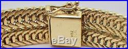 Estate 14K Yellow Gold Women's Wide Wheat Chain Bracelet 43.8 Grams