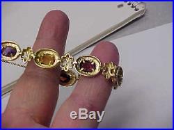 Estate 14 K Gold Gemstone Bracelet 7.25 Inch Long Weighs 20.3 grams 11 mm wide