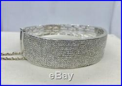 Estate 14k White Gold 5.09ctw Single Cut Diamonds Wide Bangle Bracelet