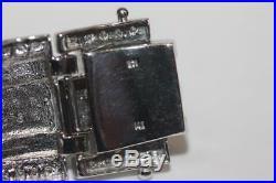 Estate 14k White Gold Men's Wide Diamond Bracelet Fancy Link 67.8Grms 2.88ct tw