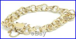 Estate 14k Yellow 7/16 Wide Gold Charm Bracelet 23.2 Grams 7 Inch Long