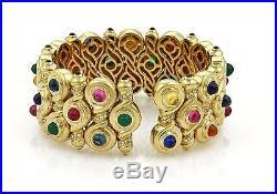 Estate 1ct Diamond & Multi-Gemstone 18k Yellow Gold Fancy Wide Bracelet