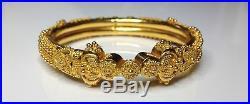 Estate 22K Yellow Gold Etruscan Style 0.25 Wide Bangle Bracelet