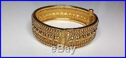 Estate 22K Yellow Gold Etruscan Style 0.75 Wide Bangle Bracelet