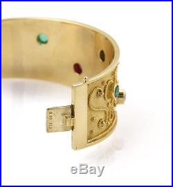 Estate 2.00ct Emerald, Ruby & Sapphire 18k Yellow Gold Wide Bangle Bracelet