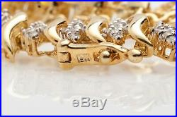 Estate $4000 2ct Natural Diamond 10k Yellow Gold Tennis S LINK Bracelet WIDE 11g