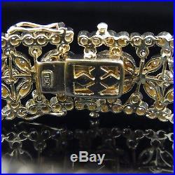 Estate 4.2 Carat 18k Yellow Gold Bracelet Wide Floral Flower Vintage