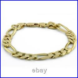Estate Figaro Chain Link Bracelet 14K Yellow Gold 29.3 GR 9.5 mm Wide Men's 9
