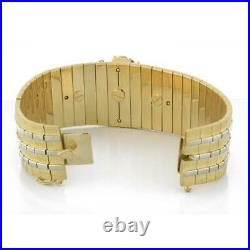 Estate Floral Sapphire Ruby Wide Cuff Bracelet 18K Yellow Gold Ladies Size 7.5