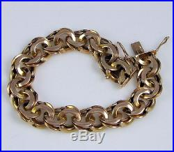 Estate GORGEOUS Vintage 14k Rose & Yellow Gold 44.5 Gram Wide Link 50's Bracelet