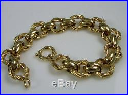 Estate GORGEOUS Vintage 14k Yellow Gold 13.4 Gram Rope Wide Twist Link Bracelet