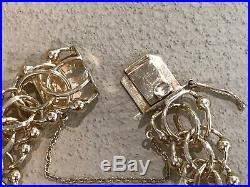 Estate Handmade Solid 14K GOLD Dbl Link Charm Bracelet 7 Wide/Heavy 51 grams