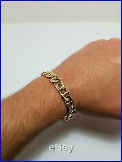 Estate Italian 14K Yellow Gold Mens Bracelet 9.4mm Wide 8.5In Long 34.2 Grams