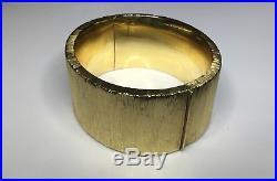 Estate Italian Designer 14K Yellow Gold 1.2 Wide Bangle Bracelet 70 Grams