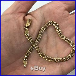 Estate Italy 14k yellow gold 7.2 flat curb cable chain bracelet 4mm wide 3g