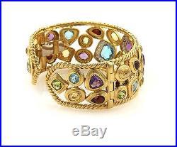 Estate Signed 18.75ct Diamonds & Multi-Gems 18k Yellow Gold Wide Cuff Bracelet