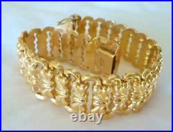 Estate Solid 18K Yellow Gold Wide Woven Design Bracelet 29.1 grms, 7.25 inch