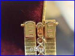 Estate Vintage 14K Gold ITALY Designer Big Wide 3ct Diamond Dual Clasp Bracelet