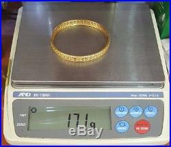 Estate Vintage 14k Yellow Gold Filigree Designer Ladies Wide Bangle Bracelet 8