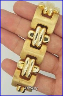 Estate Vintage 14k Yellow Gold Thick Wide Matte Satin Italy Ladies Bracelet 8
