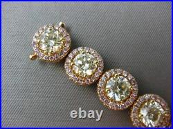 Estate Wide 12.71ct Fancy Pink & Green Diamond 18k Two Tone Gold Tennis Bracelet