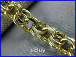 Estate Wide 14kt Yellow Gold Classic Handcrafted Circular Charm Bracelet #22588