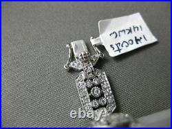 Estate Wide 1.40ct Diamond 14kt White Gold 3d Filigree Milgrain Tennis Bracelet