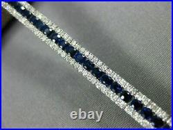 Estate Wide 5.57ct Diamond & Aaa Sapphire 18kt White Gold 3d Tennis Bracelet