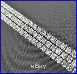 Estate Wide 5.58ct Diamond 14kt White Gold Multi Row 3d Tennis Bracelet #23475