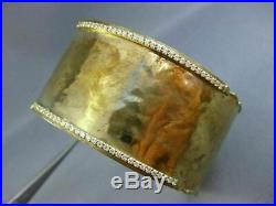 Estate Wide. 90ct Diamond 14k Yellow Gold Classic Hammered Cuff Bangle Bracelet