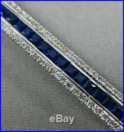 Estate Wide 9.96ct Diamond & Sapphire 18kt White Gold 3d Classic Tennis Bracelet