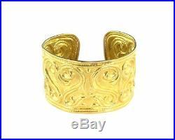 Estate Wide Fancy Carved Floral 22k Gold Cuff Bracelet