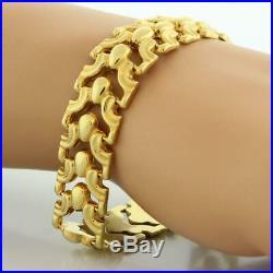 Estate Wide Fancy Link Bracelet 14K Yellow Gold Ladies 7