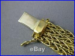Estate Wide & Long 18kt Yellow Gold 3d Four Row Byzantine Bracelet #19791