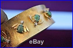 Estate vintage retro 14k gold diamond-jade heavy wide bangle bracelet with Bees