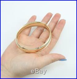 Eternagold 14K Yellow Gold Hinged Wide Smooth Bangle Bracelet 24 Grams