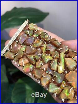 Ethiopian Opal & Diamond Wide Cluster Bracelet in 18K Yellow Gold HM2101KV877