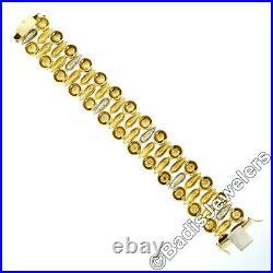FINE Vintage 18k Yellow & White Gold 0.50ctw Diamond Wide Rose Link Bracelet