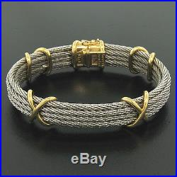 FRED Paris Force 10 18K Solid Yellow Gold X and Wide Cable Bangle Bracelet