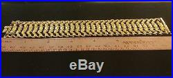 Fabulous 1950s 18k Yellow Gold 44 mm Wide Bracelet Flexible W. 49 Gms 7.5 Long