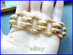 Fabulous Wide Vintage Real 18K Yellow GOLD Statement Bracelet 7.5 unique large