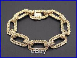 Fancy Link Double Rope Large Chain 14k Yellow Gold 13mm Wide Bracelet 7.5 inch