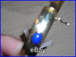 Fantastic 14K Gold Cabachon Lapis Sodalite Encircling Wide Hinged Bracelet