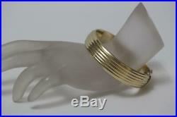 Fine 14K Yellow Gold Italy Fluted Wide Bangle Bracelet Fits 7 Wrist- 27.3 Grams