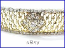 Fine Round Cut Diamond Wide Yellow Gold Bracelet 2.19CT 7.25