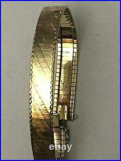 Flat OMEGA Bracelet 14K Yellow Gold, 10mm Wide / 7.25 Inches Long