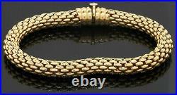 Fope Italian designer heavy 18K yellow gold 6.5mm wide mesh tube bracelet
